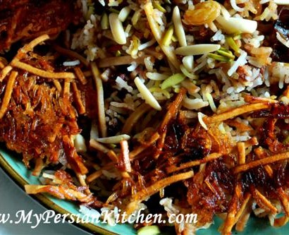 Home my persian kitchen reshteh polow persian rice with noodles forumfinder Images