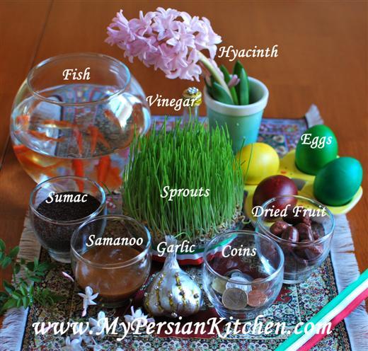 """Sofreh Haft Seen ~ The 7 """"S"""" of Norouz Spread - My Persian ... Persian Haft Seen"""