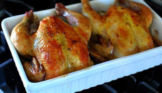 Roasted Cornish Hens with Saffron