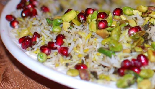 Rice with Pistachio & Pomegranate Arils