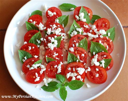 grape tomato and feta salad with amazing basil grilled eggplant grape ...
