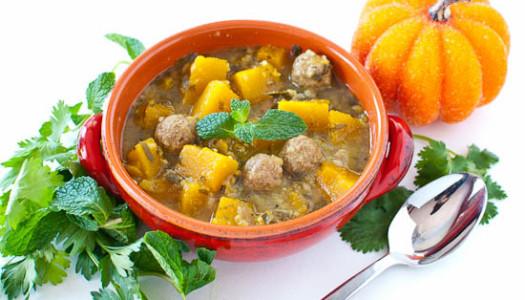 Asheh Kadoo Tambal ba Sabzi ~ Persian Pumpkin Soup with Herbs