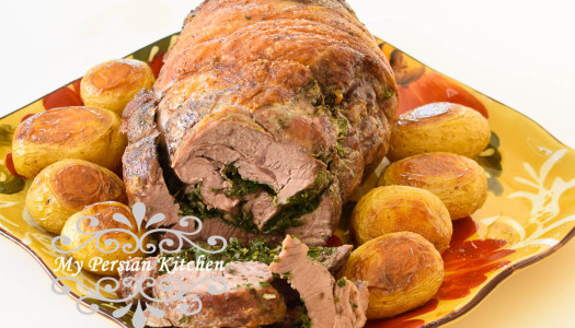 Rolet-eh Barreh ba Sabzi ~ Stuffed Lamb with Herbs