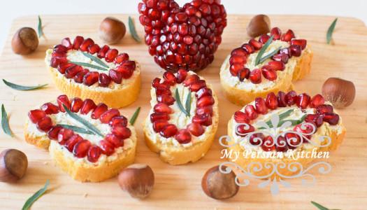 Pomegranate Hazelnut Crostini
